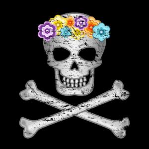 Hawaiian flower lei skull tshirt
