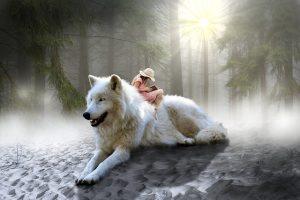 Girl sitting on the back of an angelic wolf