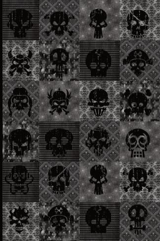 dark skulls collage journal notebook gift