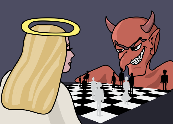 the devil playing chess with an angel