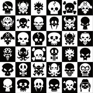 black & white retro skull checkerboard pattern gifts